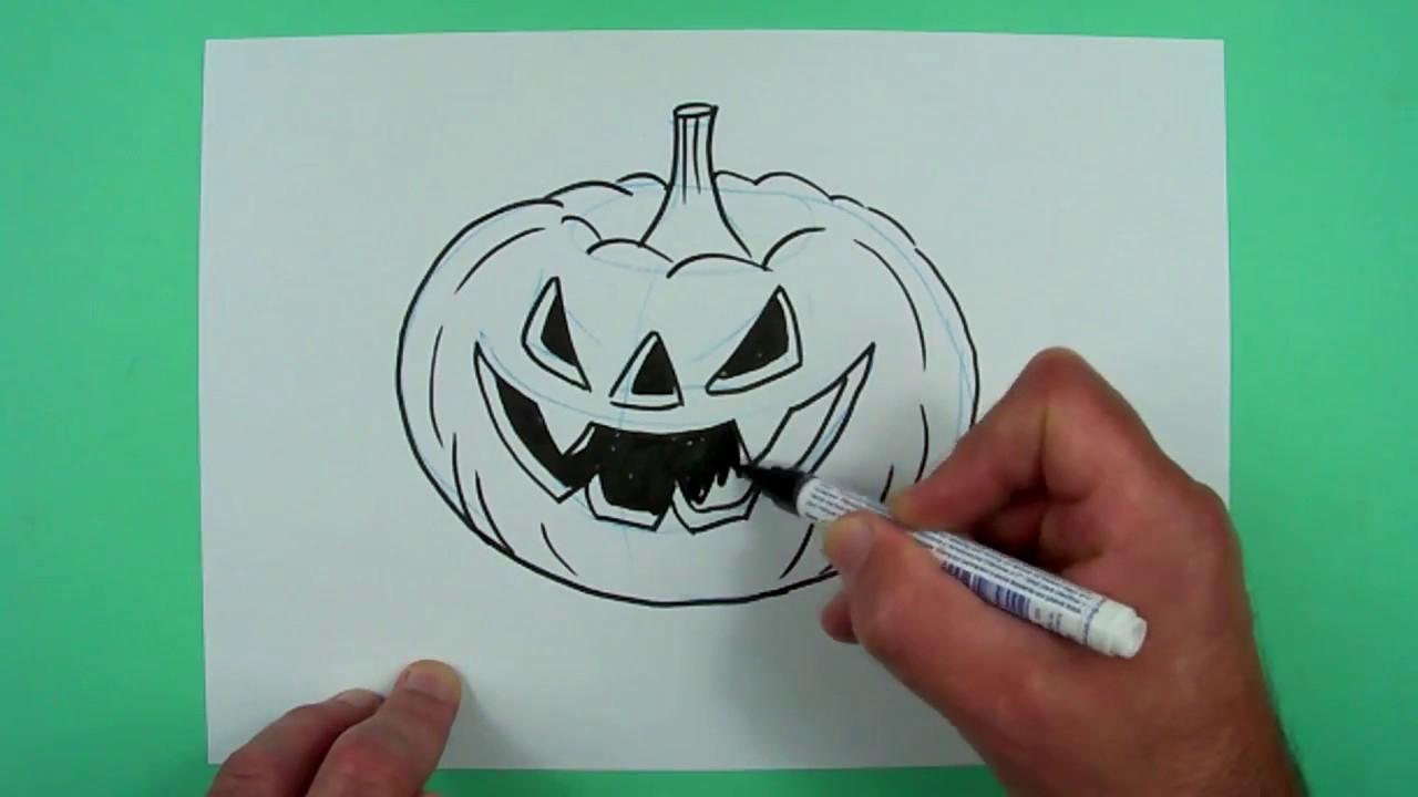 Wie Zeichnet Man Einen Halloween-Kürbis ? Zeichnen Für Kinder in Kürbis Malen