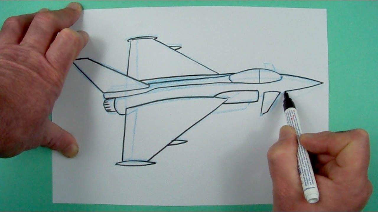Wie Zeichnet Man Einen Kampfjet ? Zeichnen Für Kinder über Düsenjet Zum Ausmalen