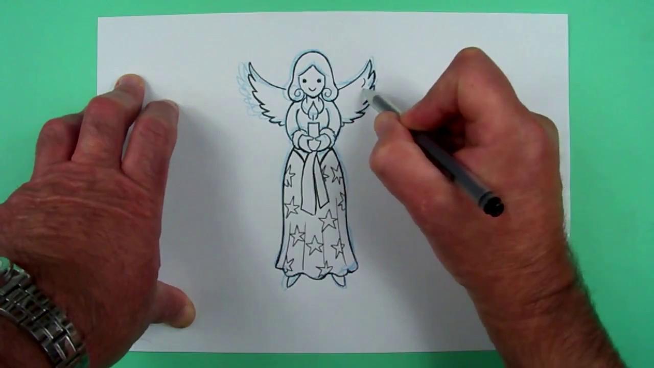 Wie Zeichnet Man Einen Weihnachtsengel? Zeichnen Für Kinder in Engelsgesicht Malen