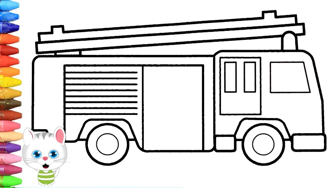 Wie Zeichnet Man Feuerwehrauto   Zeichnen Und Ausmalen Für Kinder innen Feuerwehrauto Zum Ausmalen