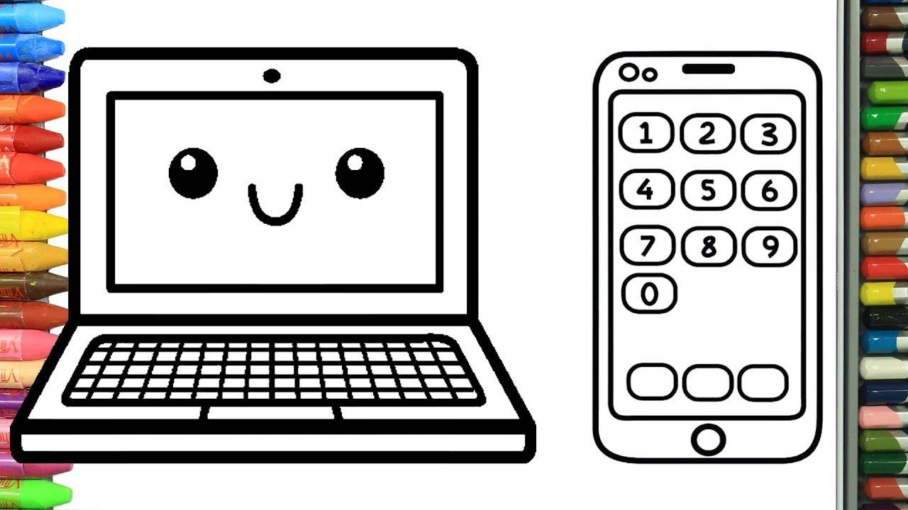 Wie Zeichnet Man Laptop Und Smartphone | Zeichnen Und Ausmalen Für Kinder bestimmt für Bilder Am Computer Ausmalen