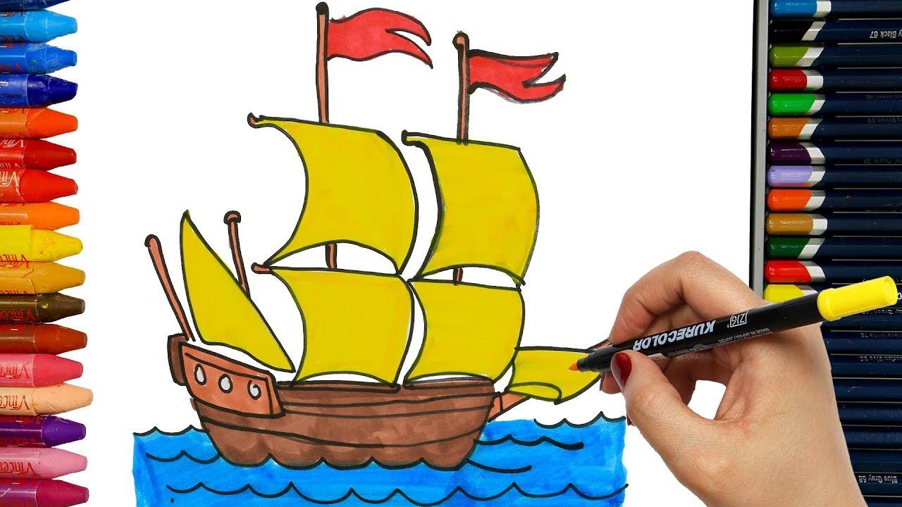 Wie Zeichnet Man Schiff | Ausmalen Kinder | Kindervideos | Malen Und  Zeichnen Für Kinder für Wie Zeichnet Man Ein Schiff