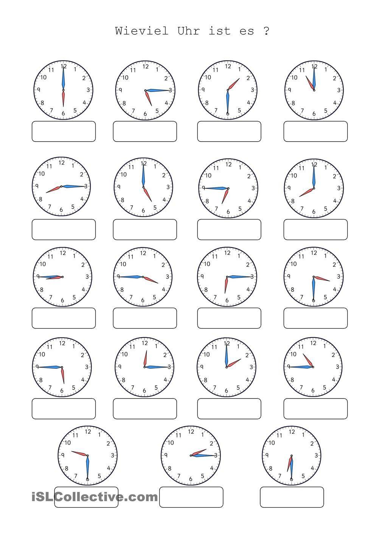 Wieviel Uhr Ist Es (Mit Bildern)   Uhrzeit Lernen, Uhrzeit innen Uhrzeit Lernen Arbeitsblätter Kostenlos