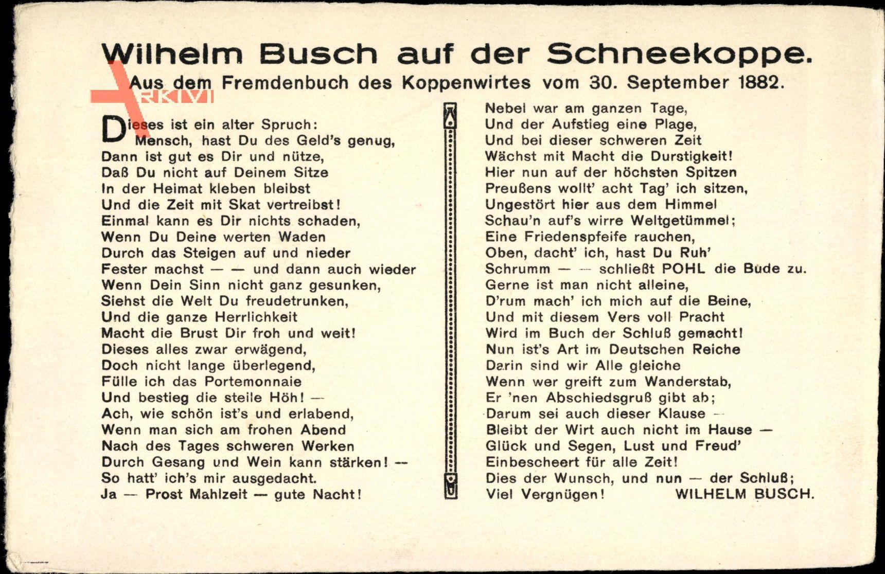 Wilhelm Busch Auf Der Schneekoppe, 30 September 1882, Bucheintrag, Gedicht über Wilhelm Busch Geburtstag Gedicht