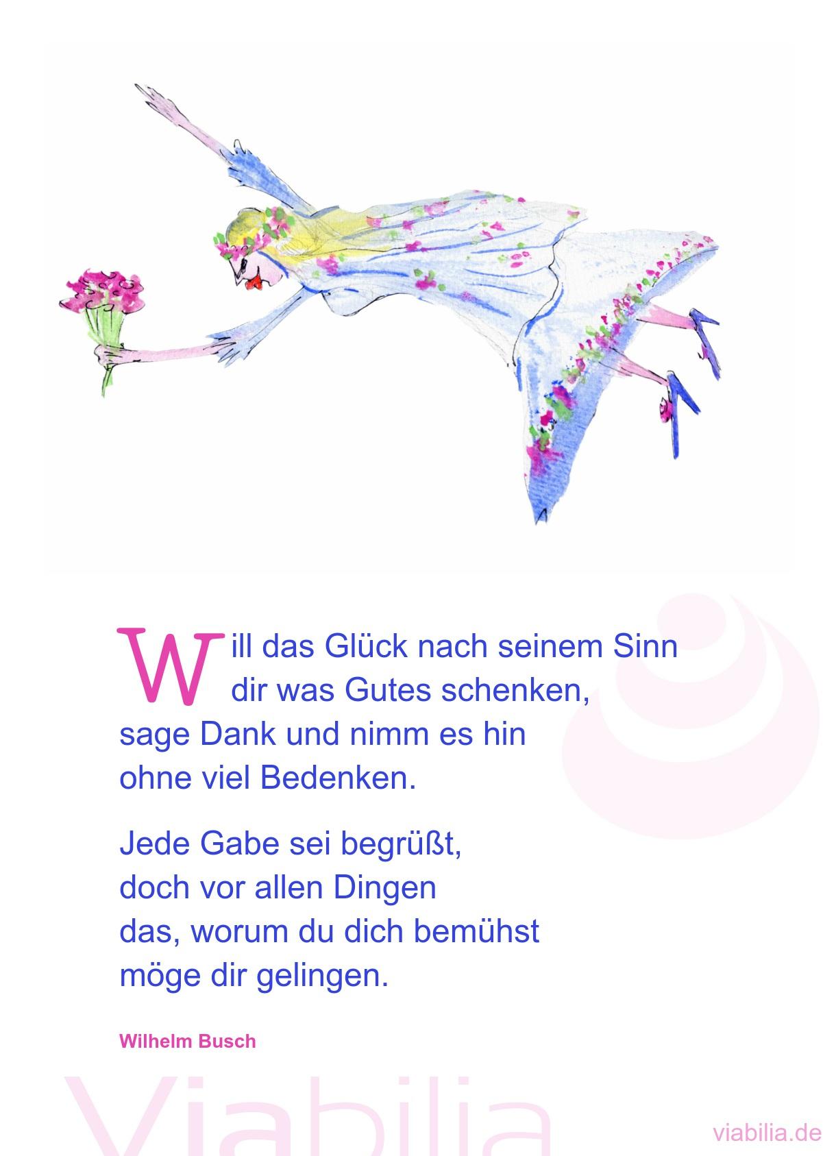 Will Das Glück Nach Seinem Sinn - Poesiealbum Spruch über Wilhelm Busch Geburtstag Gedicht