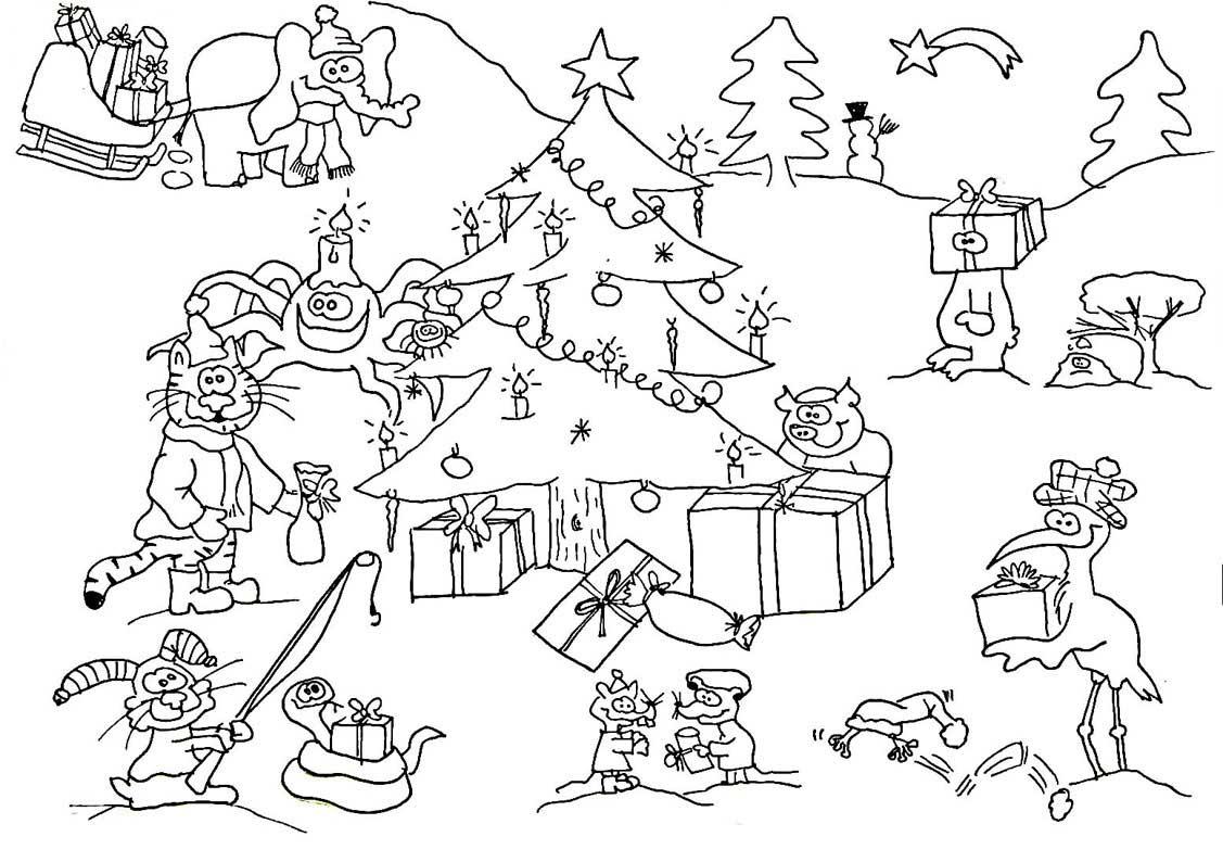 Wimmelbild | Wuschels Malvorlagen bestimmt für Ausmalbild Weihnachten Kostenlos