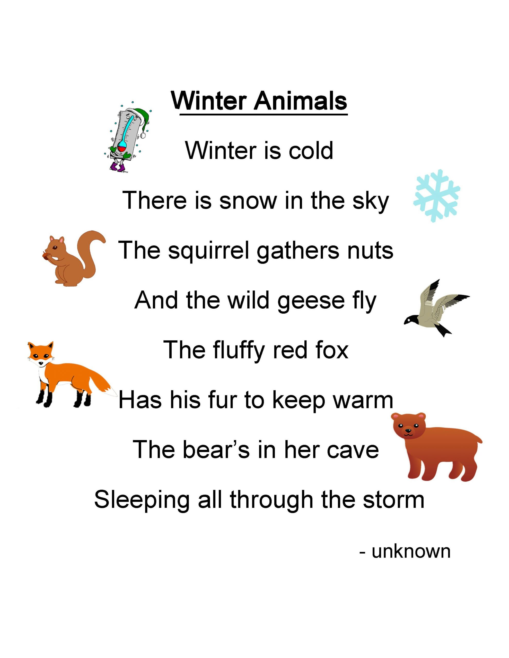 Winter Animals Lesson Plan - Play Learn Love | Gedichte Für innen Gedicht Winter Grundschule