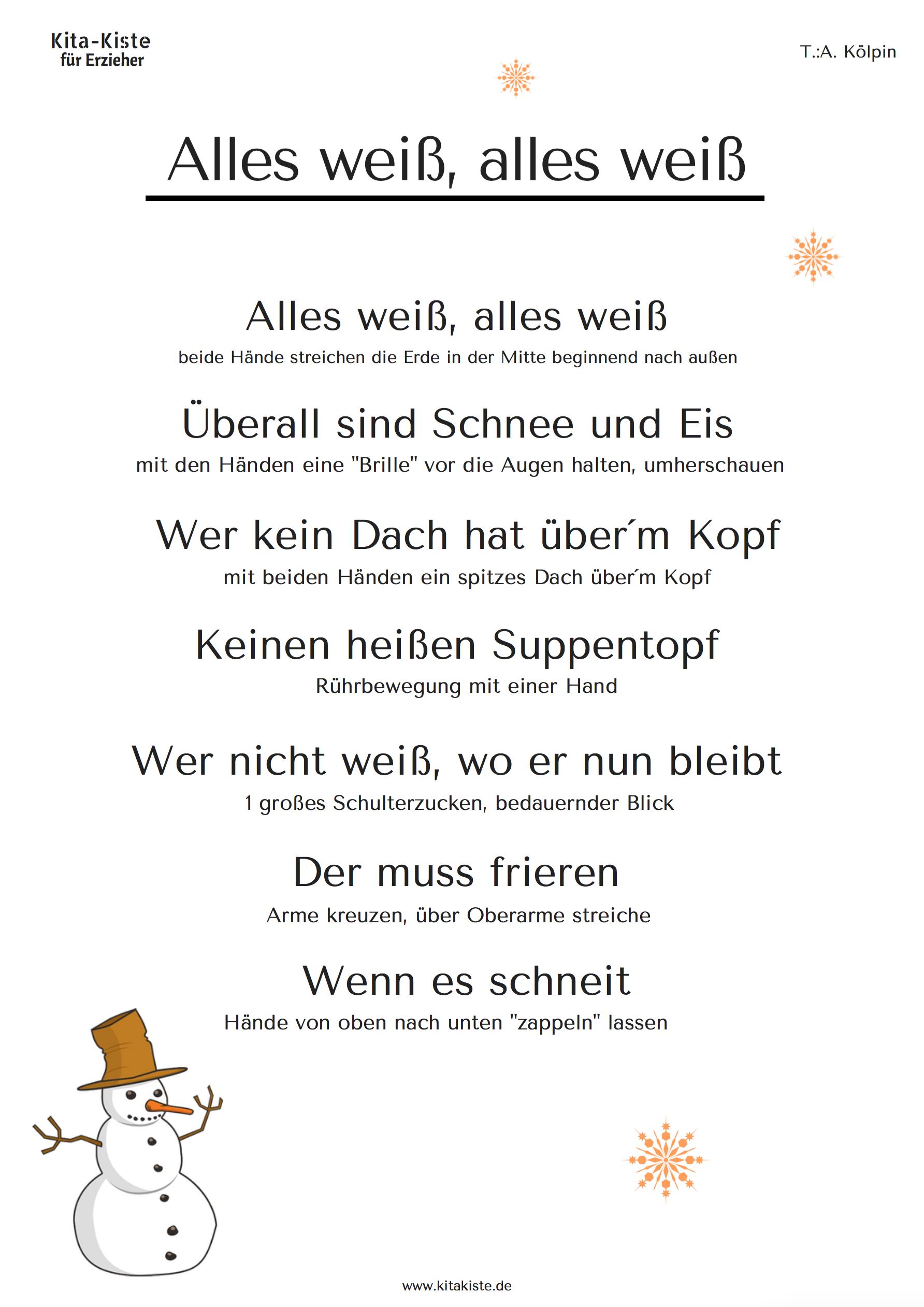 Winter-Gedicht - Passende Gesten Sind Beschrieben - Verfasst ganzes Adventsgedicht Für Kindergartenkinder