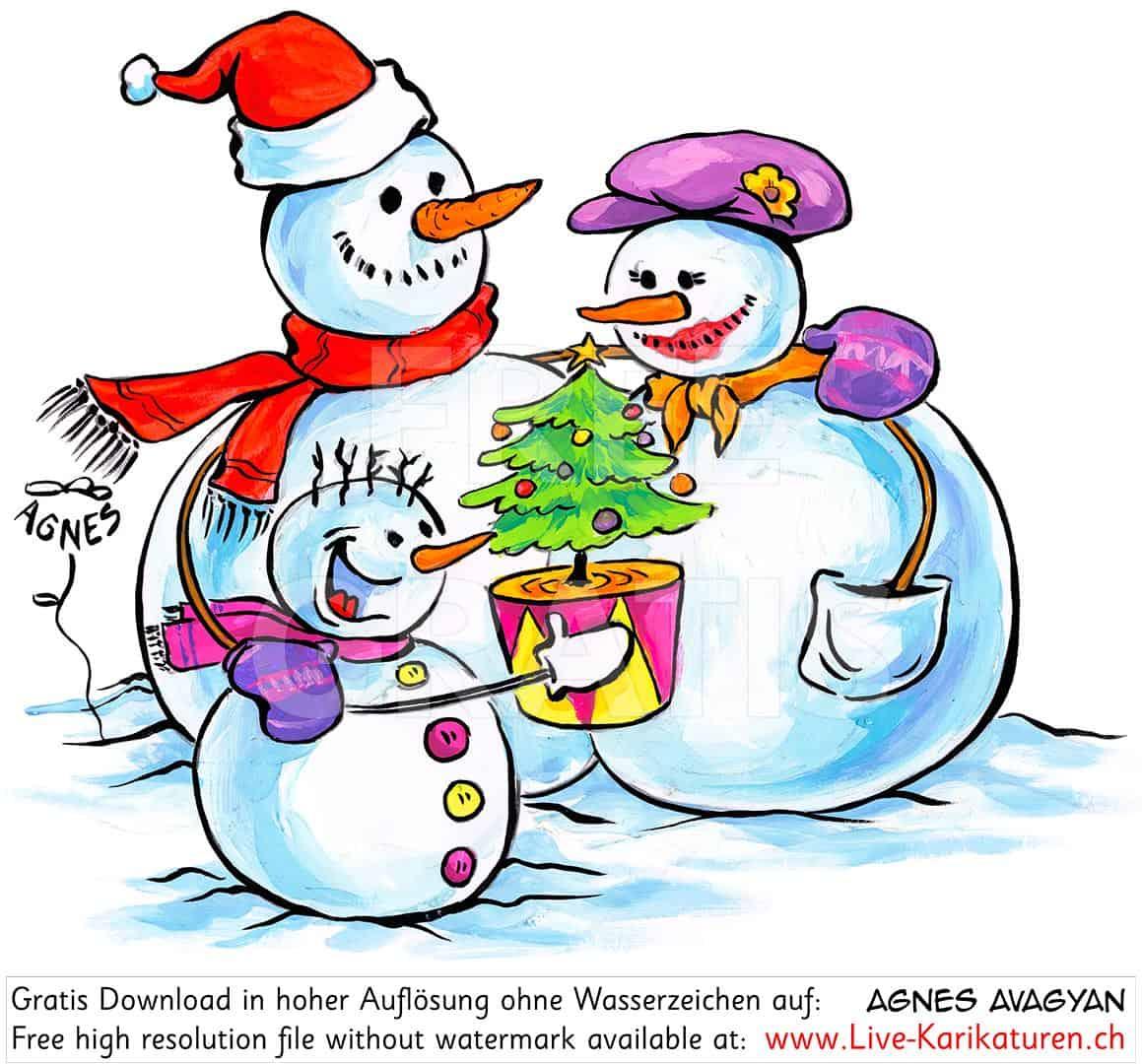 Winter Schneemann Familie Herzig Tannenbaum — Agnes Live in Cliparts Winter Kostenlos