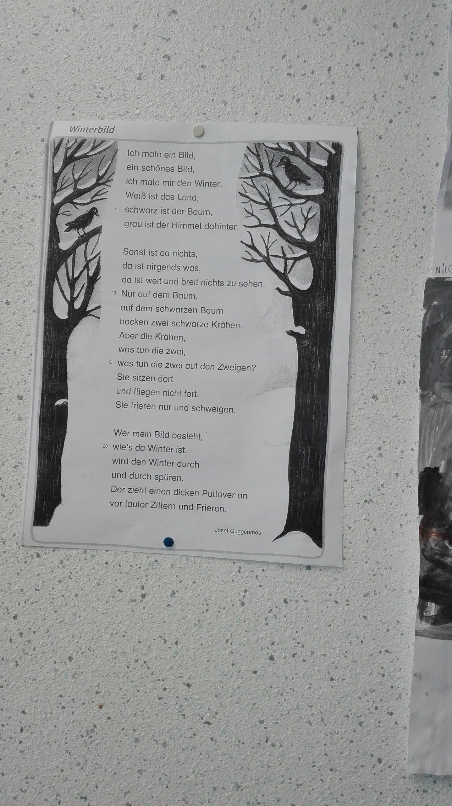 Winterbild Nach Guggenmos   Nikolaus-Schule über Josef Guggenmos Gedichte Grundschule