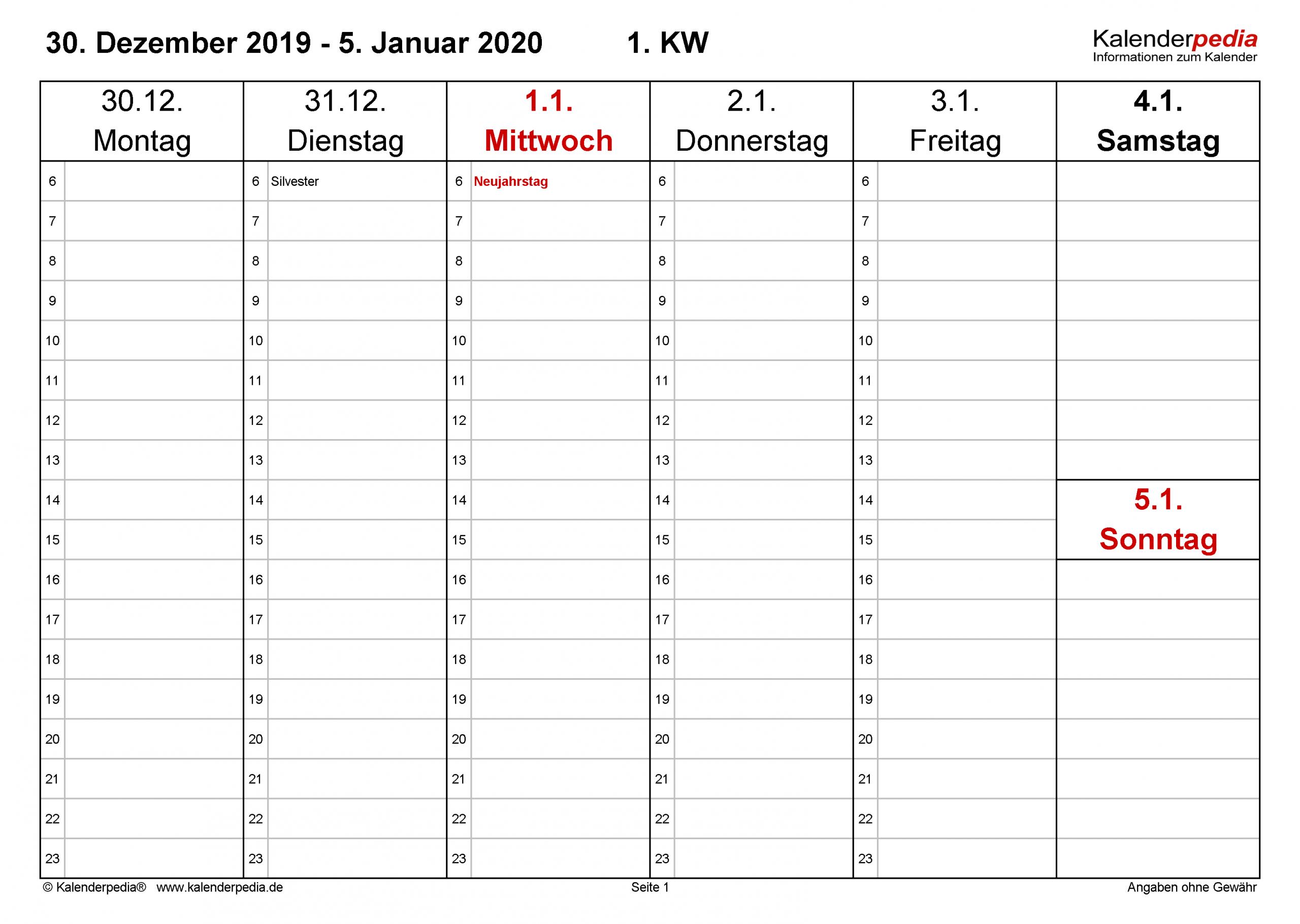 Wochenkalender 2020 Als Pdf-Vorlagen Zum Ausdrucken für Monatskalender Vorlage