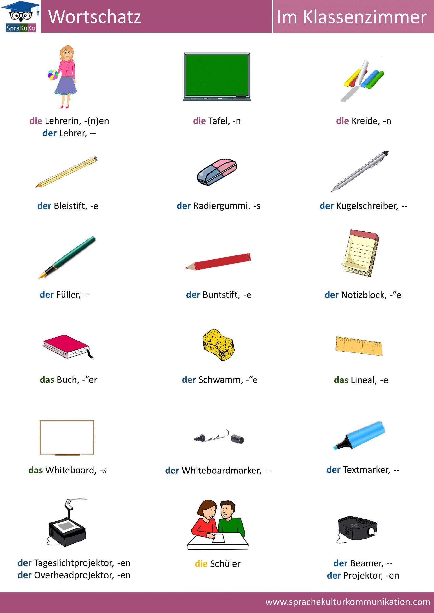 Wortschatz: Im Klassenzimmer. | Deutsch Lernen, Deutsche bei Wörter Mit Zu Am Anfang
