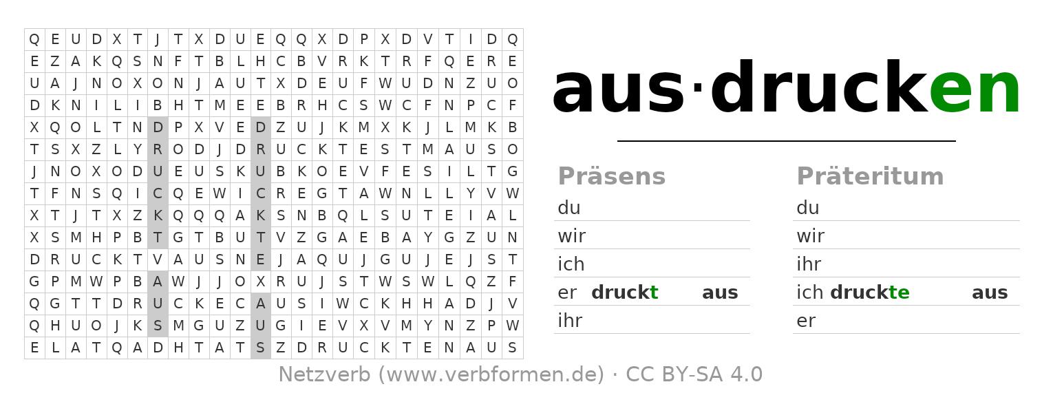 Wortsuchrätsel   Verb Ausdrucken   Suchsel Zur Konjugation in Wortsuchrätsel Zum Ausdrucken