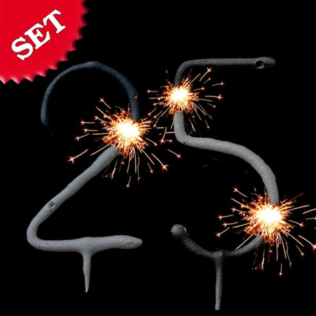 Wunderkerzen Set Zahl 25, Kuchen-Deko 25. Geburtstag / Silberhochzeit bestimmt für Wunderkerzen Für Torten