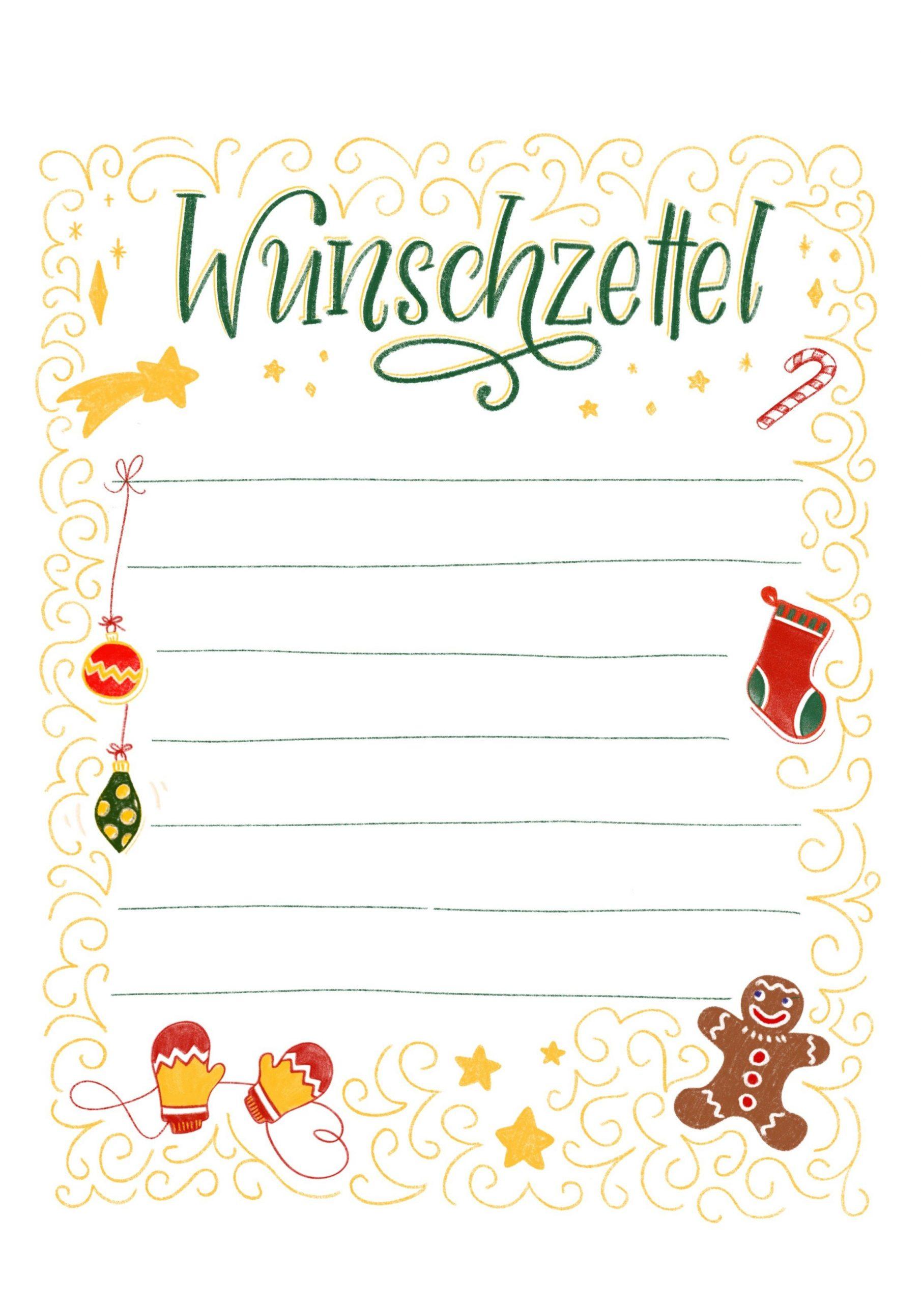 Wunschzettel - Vorlage Zum Ausdrucken   Bunte Galerie in Weihnachtskarte Vorlage