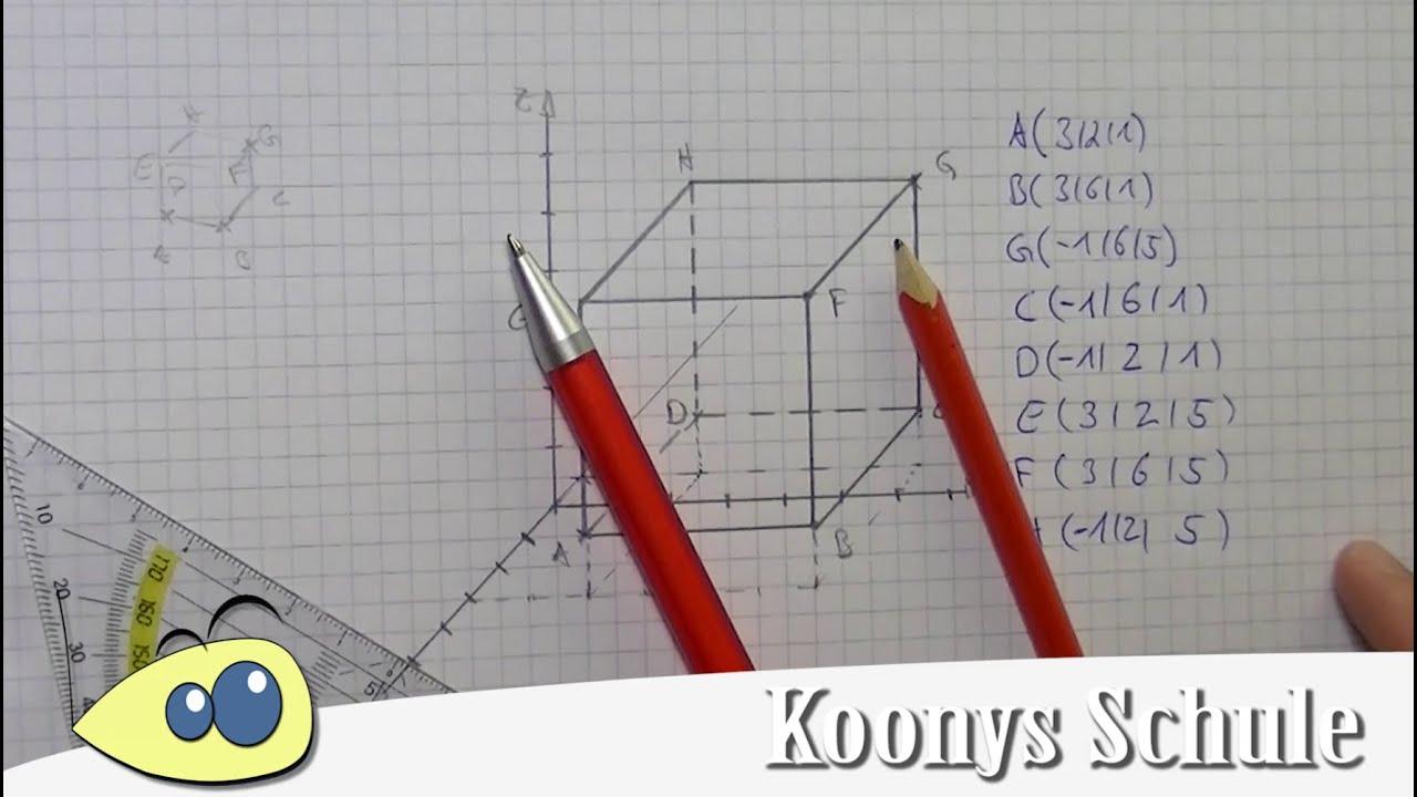 Würfel Zeichnen Und Fehlende Koordinaten Bestimmen | 3D, Vektorrechnung,  Abitur in 3D Würfel Zeichnen