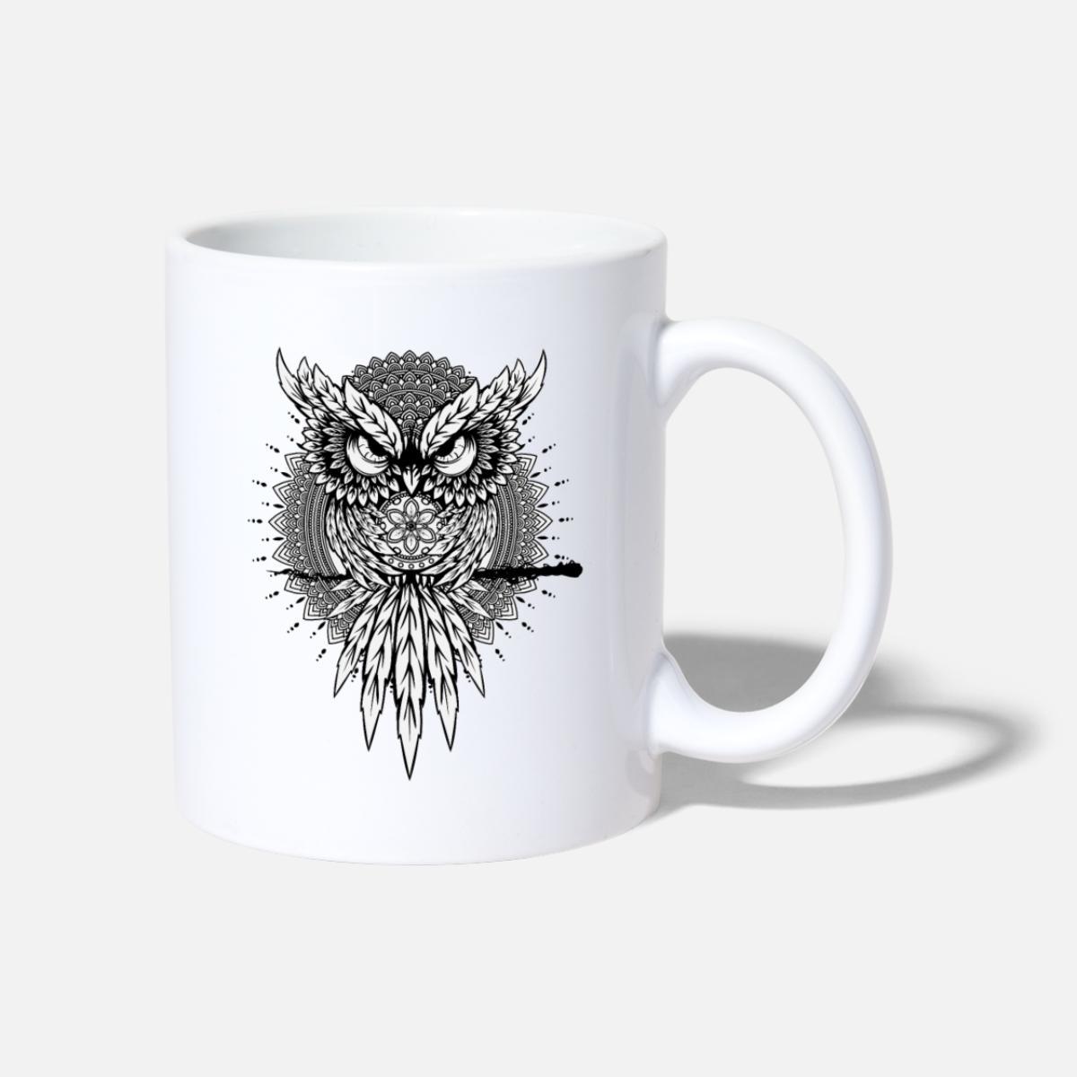 Wütende Eule Mandala Vogel Nacht Tasse - Weiß bei Mandala Vogel