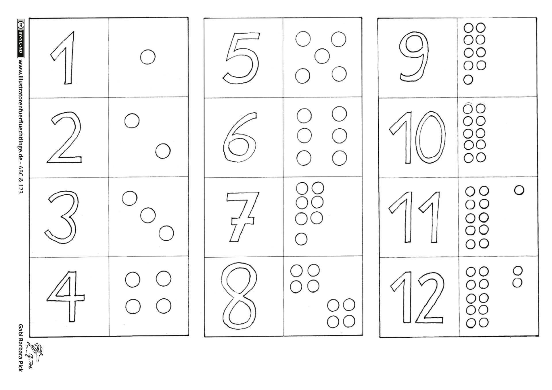 Zahlen Memo Spiel 2 Seiten (Mit Bildern)   Buchstaben Lernen über Zahlen Lernen Spiel