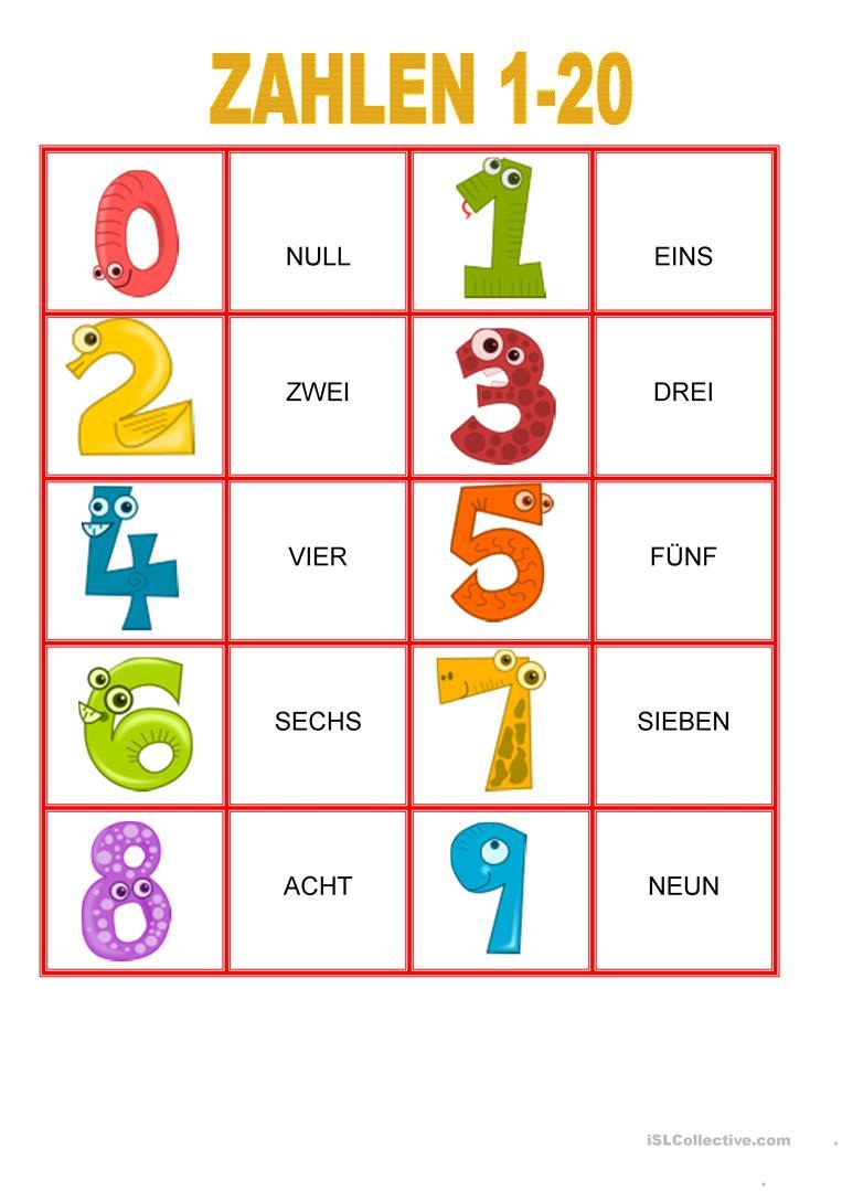 Zahlen Von 1-20 - Memory Spiel - Deutsch Daf Arbeitsblatter innen Französisch Zahlen 1-20