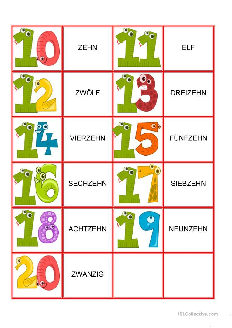 Zahlen Von 1-20 - Memory Spiel - Deutsch Daf Arbeitsblatter mit Zahlen Französisch 1 20