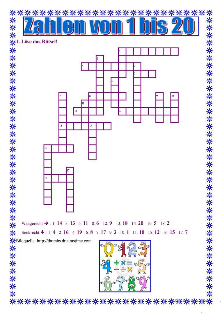 Zahlen Von 1 Bis 20 - Deutsch Daf Arbeitsblatter für Zahlen Französisch 1 20