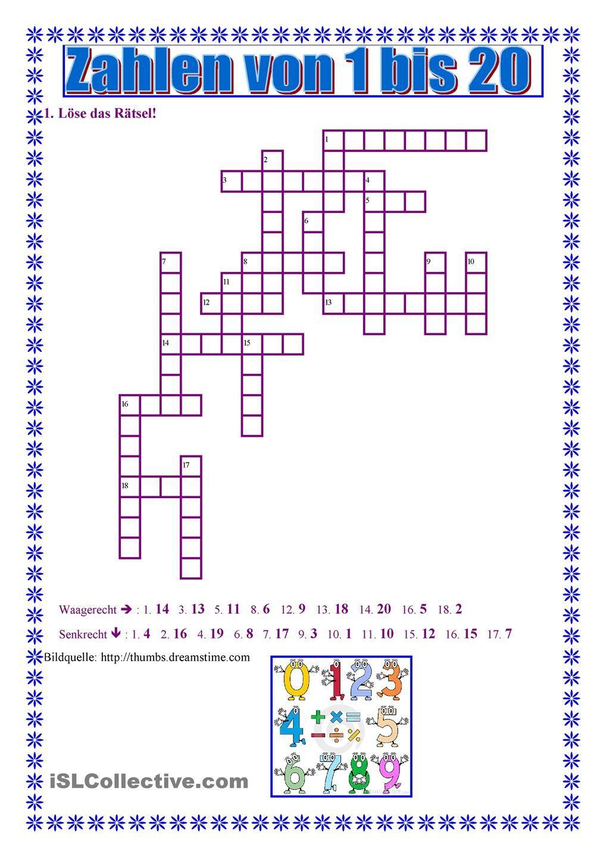 Zahlen Von 1 Bis 20   Tanulás, Német Nyelvtan, Nyelvtan in Französische Zahlen 1-20