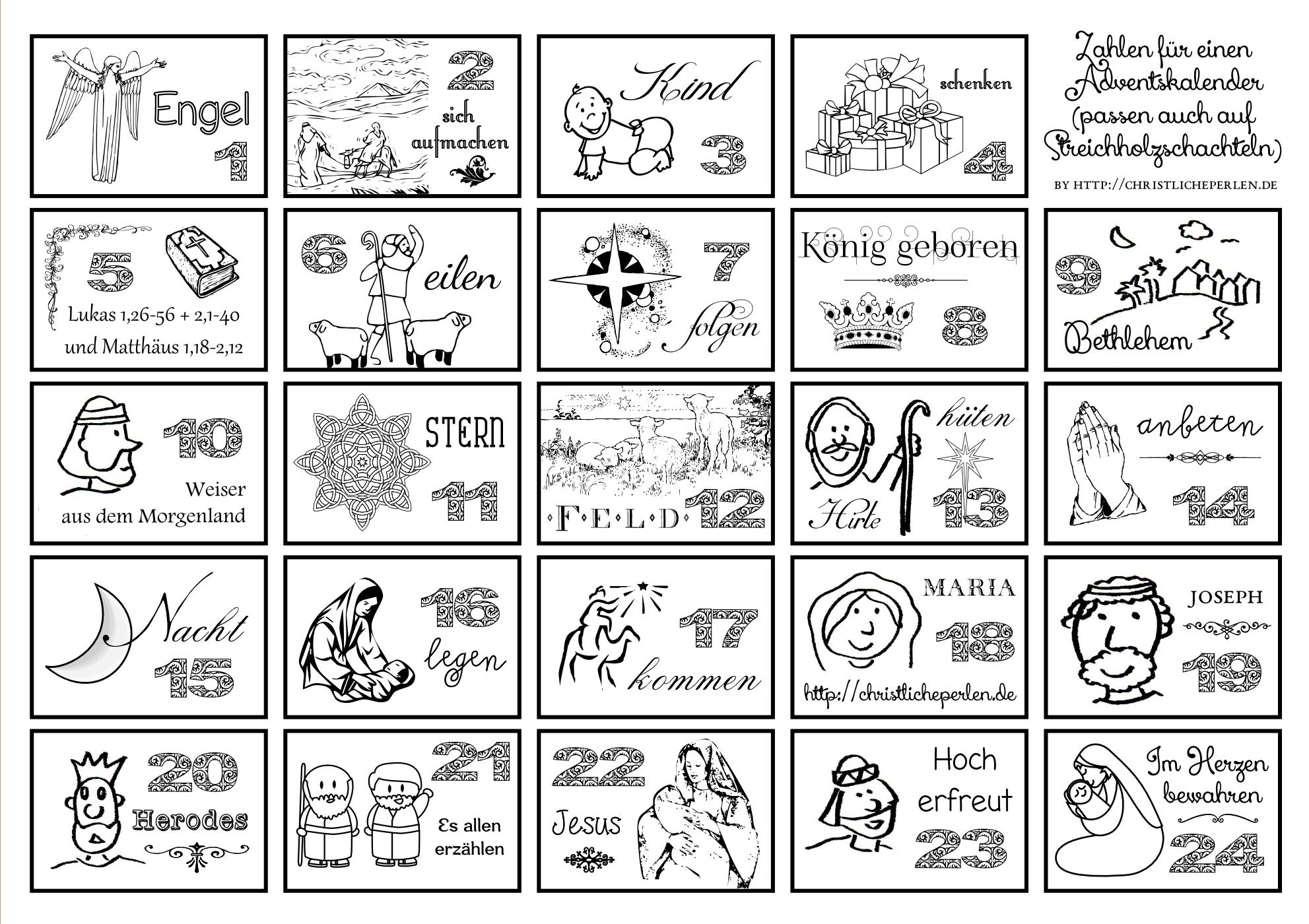 Zahlen Zum Ausdrucken Für Einen Adventskalender (2 Varianten bei Adventskalender Drucken
