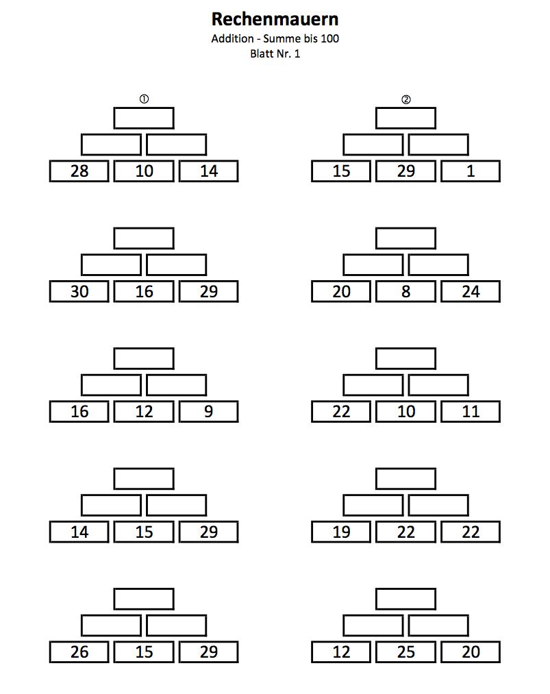 Zahlenmauern 2 Klasse Bis 100  Mathefritz Arbeitsblätter innen Übungsblätter Mathe 2 Klasse Zum Ausdrucken