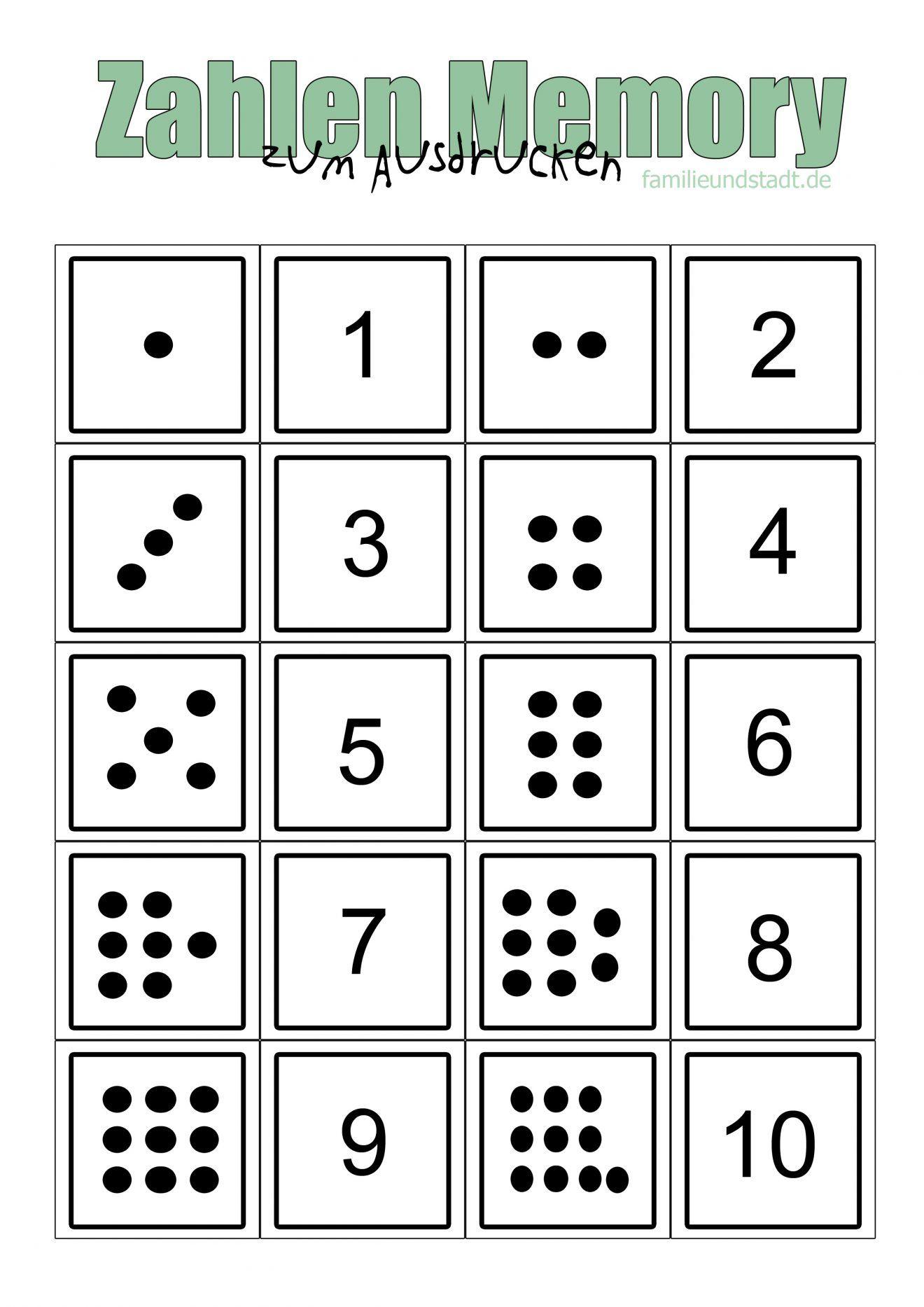 Zahlenmemory Bis 10 Selber Basteln Zum Ausdrucken in Memory Zum Ausdrucken