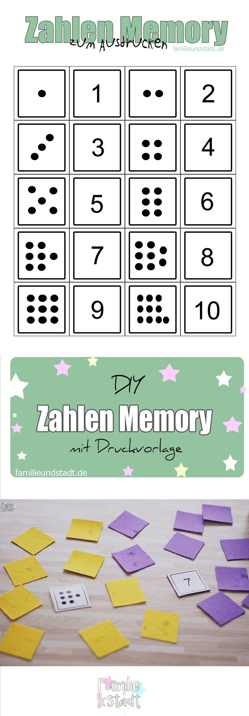 Zahlenmemory Bis 10 Selber Basteln Zum Ausdrucken innen Memory Für Kindergartenkinder Online