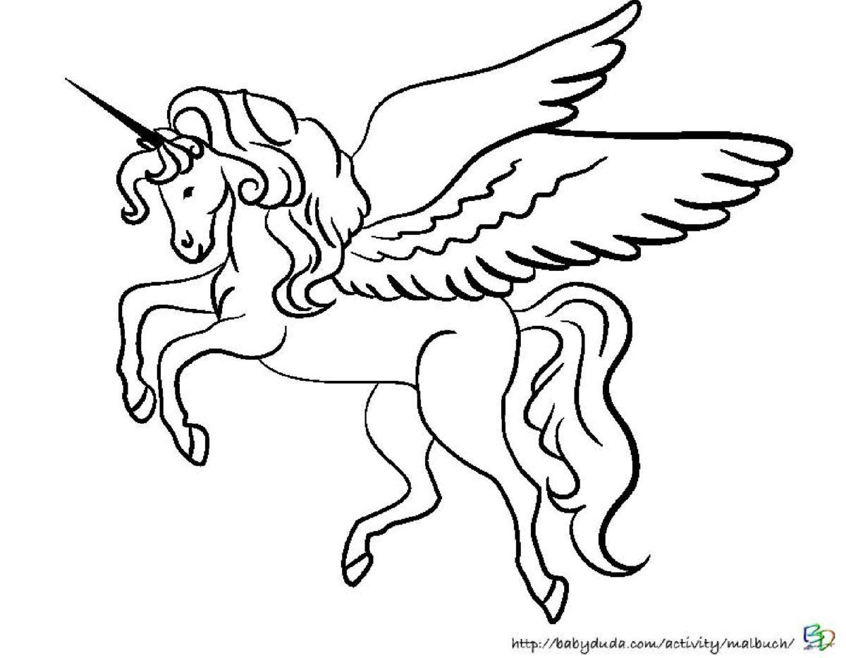 Zauberhafte Einhörner Ausmalen: Ausmalbild Einhorn bei Pegasus Ausmalbilder Zum Ausdrucken