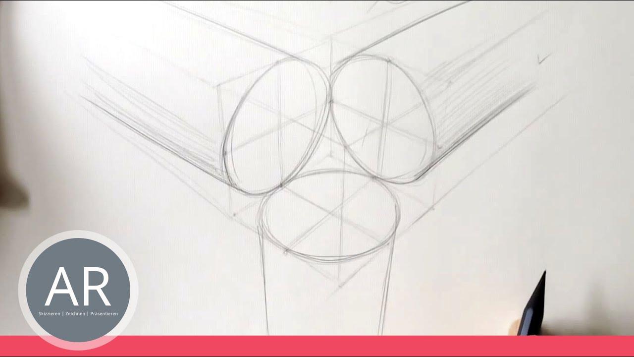 Zeichnen Lernen, Akadmie Ruhr, Tutorials, Perfekter Kreis In Perspektive,  4-Punkt-Technik ganzes Kreise Zeichnen