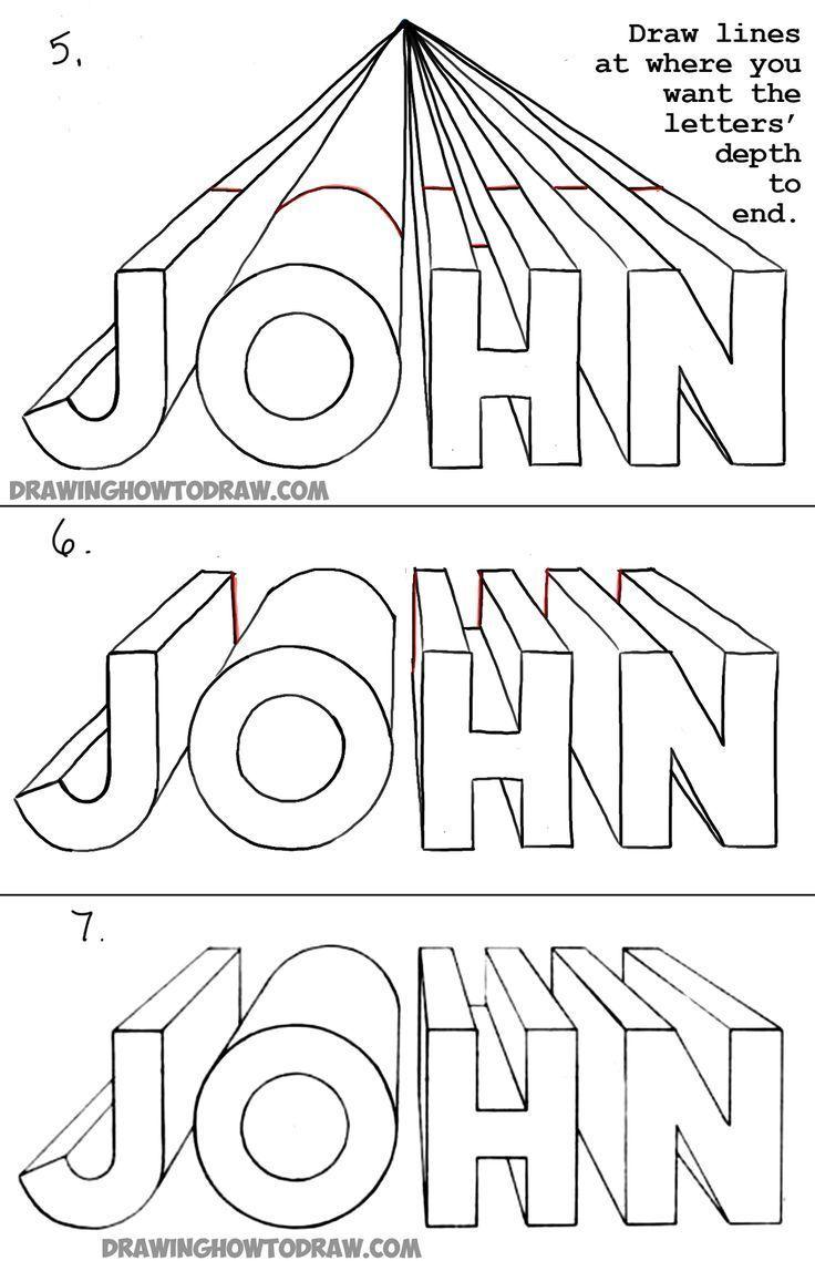 Zeichnen Von 3D-Buchstaben Mit Einer Perspektive Aus Einer für Perspektive Zeichnen Schritt Für Schritt