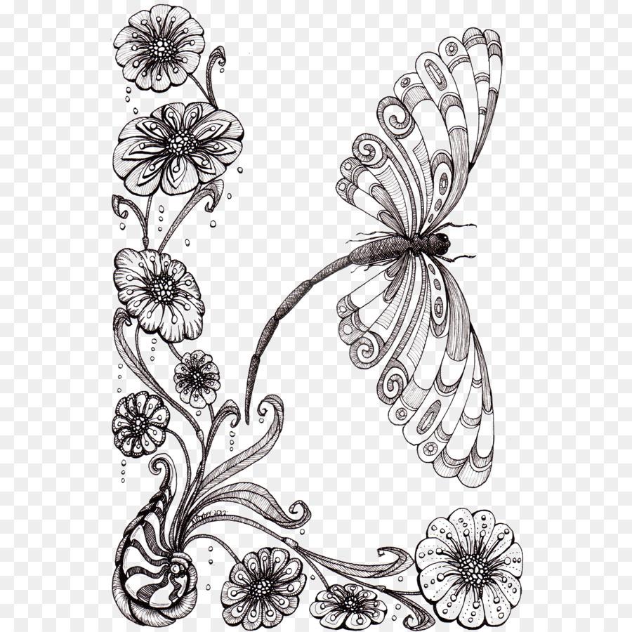 Zeichnung Blume Bleistift-Skizze - Libellen Und Blumen Png ganzes Blume Zeichnung Bleistift