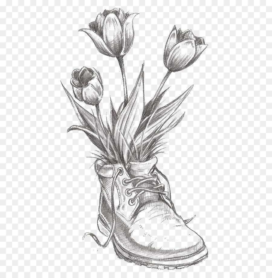 Zeichnung Blume, Tulpe, Bleistift-Skizze - Tulip Png in Blume Zeichnung Bleistift
