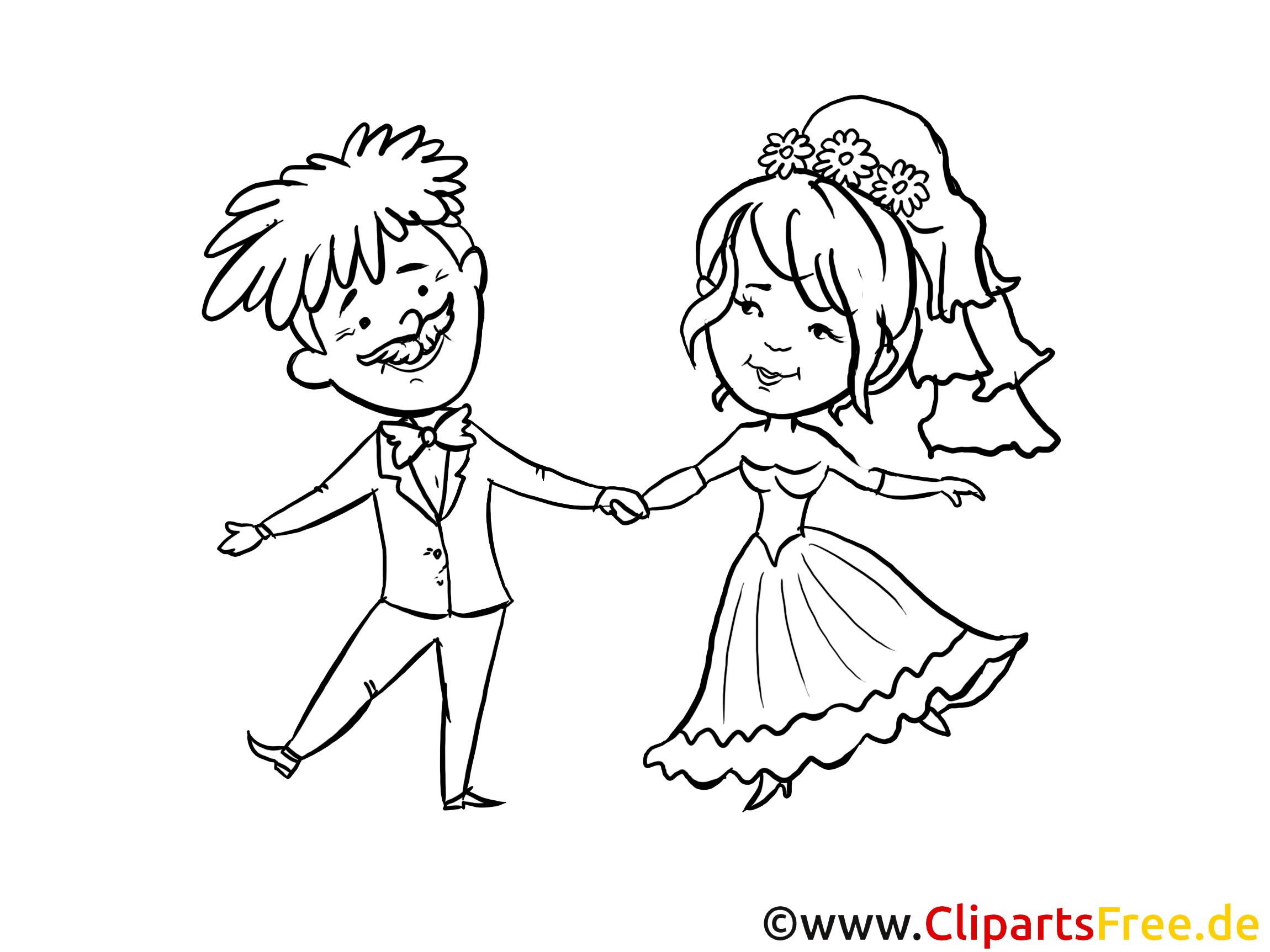 Zeichnung Zum Ausmalen Hochzeit, Brautpaar, Glückliche Verliebte für Hochzeitsbilder Zum Ausmalen