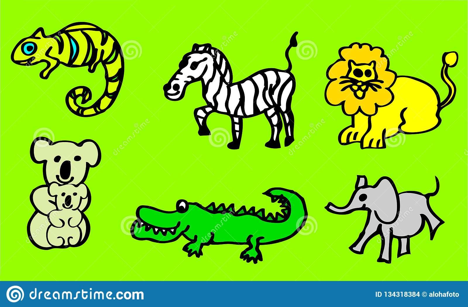 Zeichnungen Über Wilde Tiere Für Kinder Mit Einem Löwe Und verwandt mit Krokodil Bilder Für Kinder