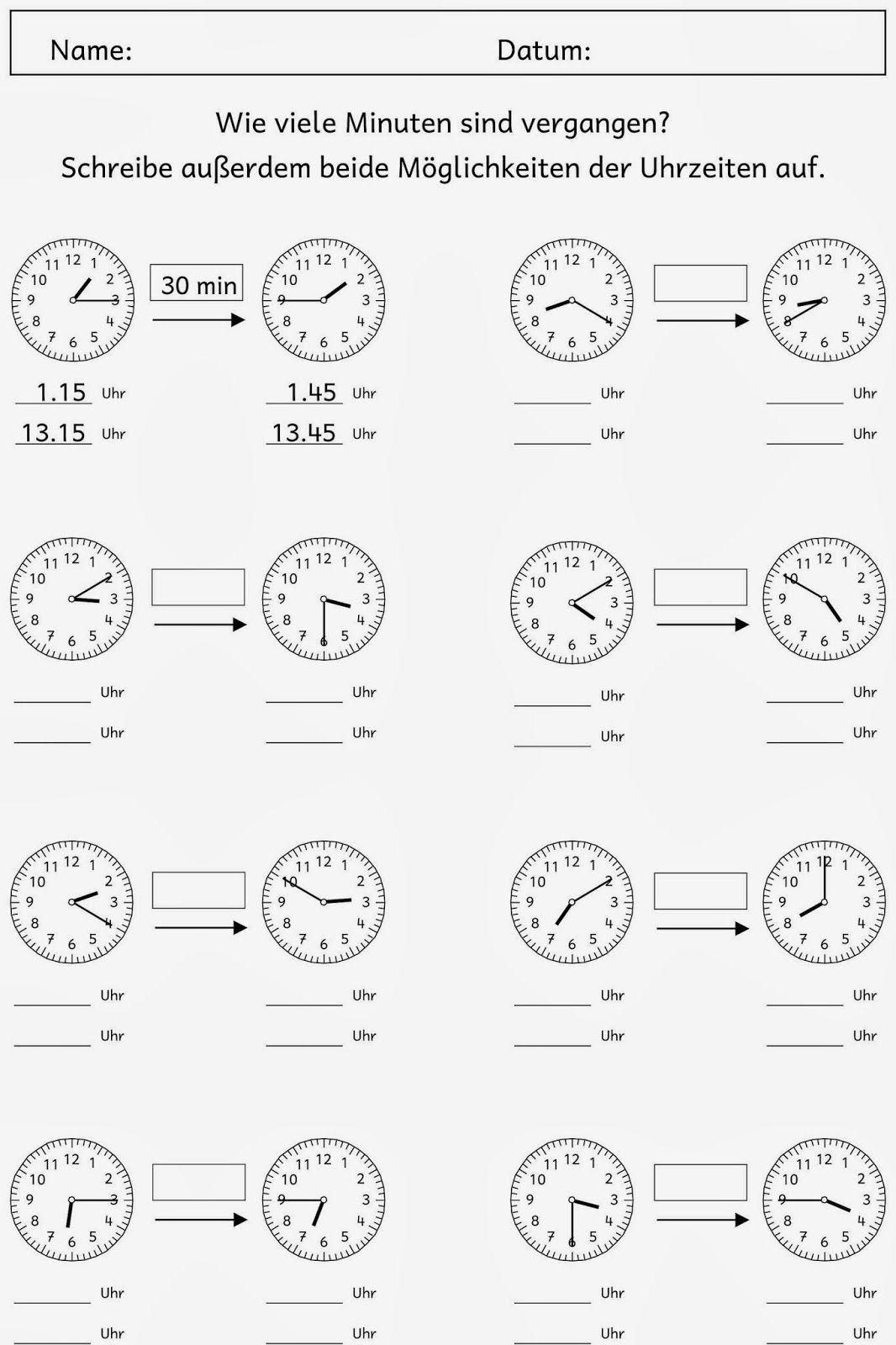 Zeitspannen (2) | Uhrzeit Lernen, Uhrzeit Grundschule, Mathe bestimmt für Uhrzeit Arbeitsblätter