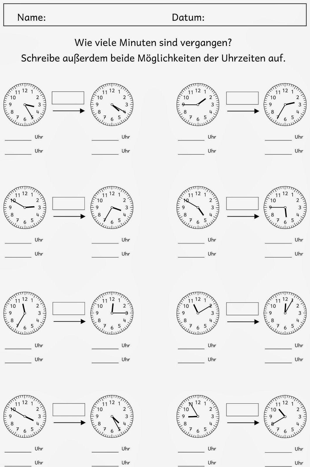 Uhrzeit Lernen Arbeitsblätter Kostenlos