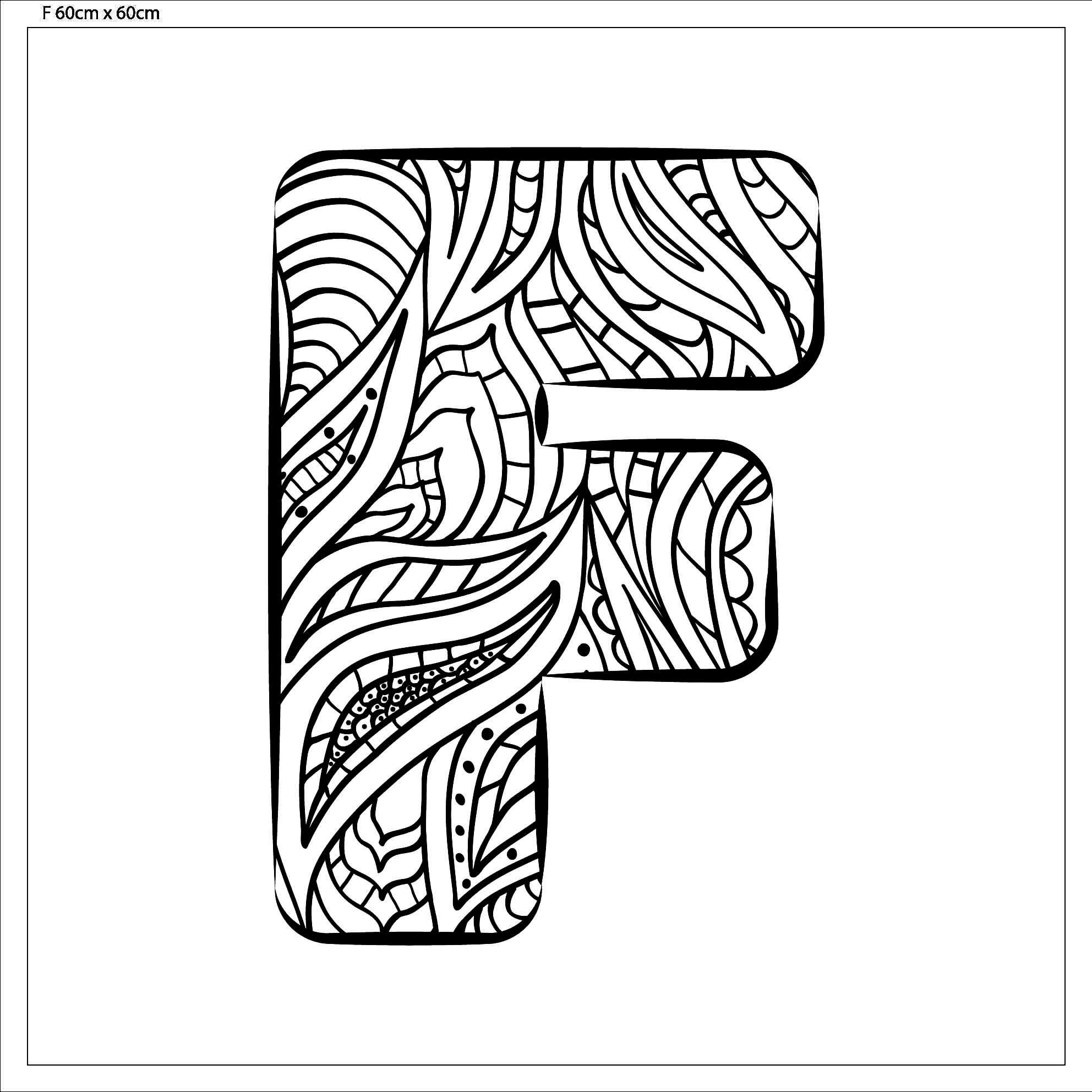 """Zentangle - Buchstabe """"f"""" Zum Ausmalen Fertig Aufgespannt innen Buchstaben Zum Ausmalen"""