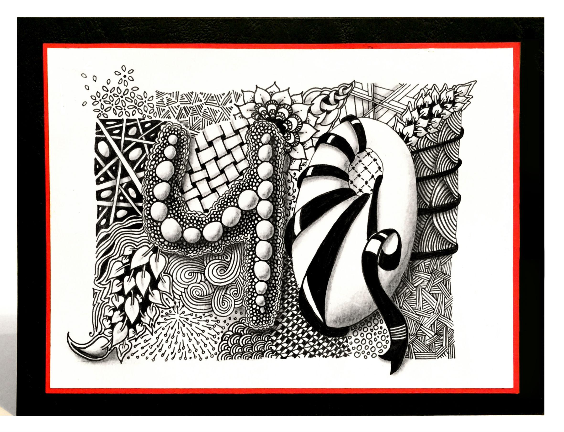 Zentangle-Geburtstagskarte | Bunte Galerie bei Geburtstagskarten Muster