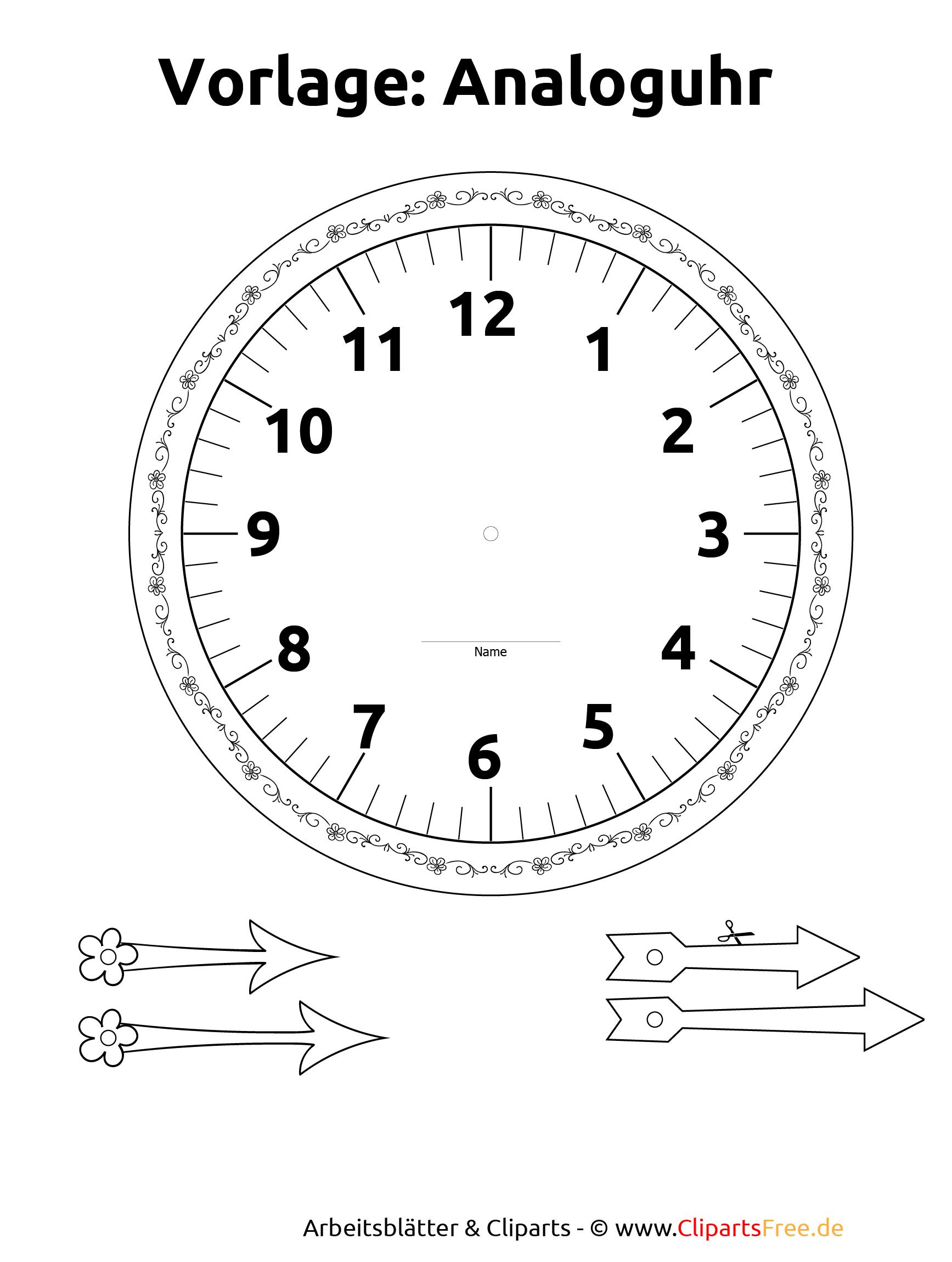 Zifferblatt Selbst Gestalten Ausdrucken mit Uhr Zum Ausdrucken