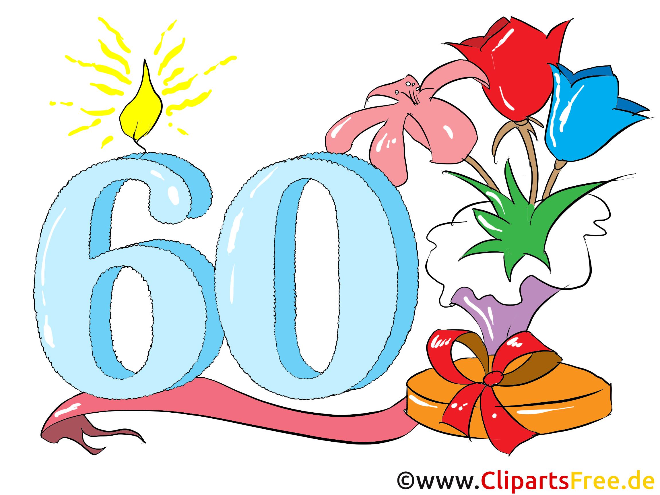 Zum 60. Geburtstag Clipart, Glückwunsch, Einladung bei Clipart Geburtstag Kostenlos