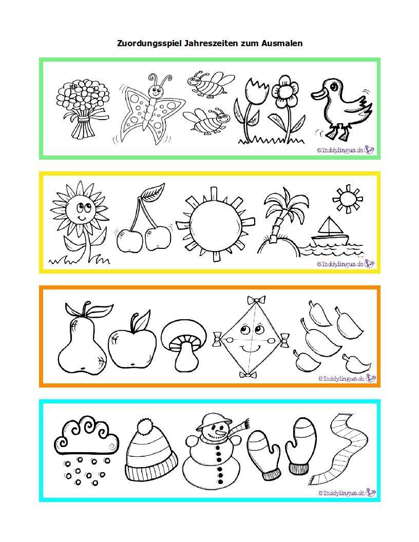 Zuordnungsspiel-Jahreszeiten-Zum-Ausmalen (816×1056 verwandt mit Jahreszeiten Bilder Für Kindergarten