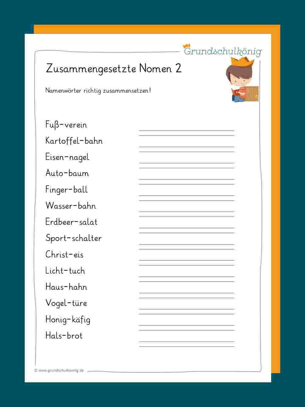 Zusammengesetzte Nomen über Deutsch 3 Klasse Nomen Verben Adjektive Übungen